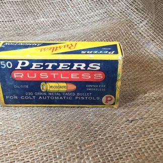 Vintage Peters 45 Colt Auto Ammo - Full Box 50ct